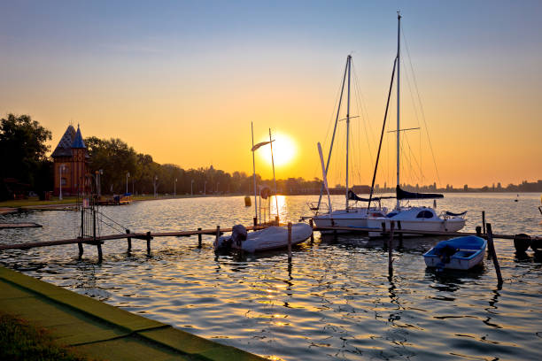 Sunrise at Palic lake harbor near town of Subotica view, Vojvodina region of Serbia